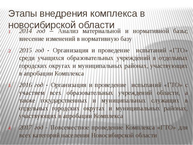 2014 год – Анализ материальной и нормативной базы; внесение изменений в норма...