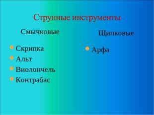 Смычковые Скрипка Альт Виолончель Контрабас Щипковые Арфа