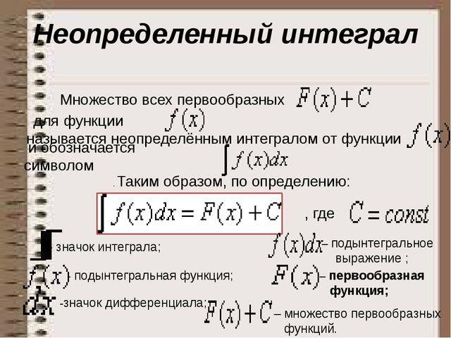 Неопределенный интеграл Множество всех первообразных для функции называет...