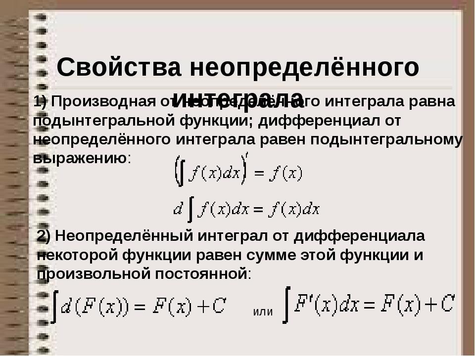 Свойства неопределённого интеграла 1) Производная от неопределённого интеграл...