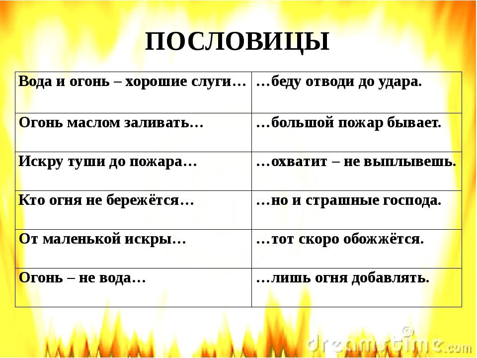 ПОСЛОВИЦЫ Вода и огонь – хорошие слуги, но и страшные господа. 2) Огонь масл...