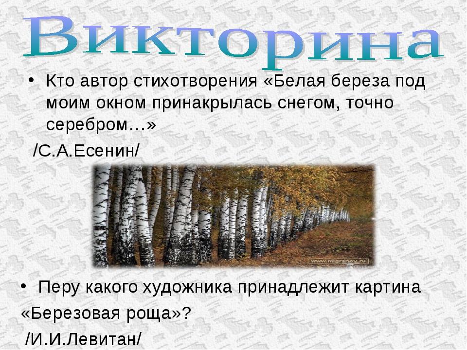 Кто автор стихотворения «Белая береза под моим окном принакрылась снегом, точ...