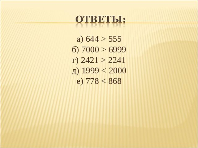 а) 644 > 555 б) 7000 > 6999 г) 2421 > 2241 д) 1999 < 2000 е) 778 < 868