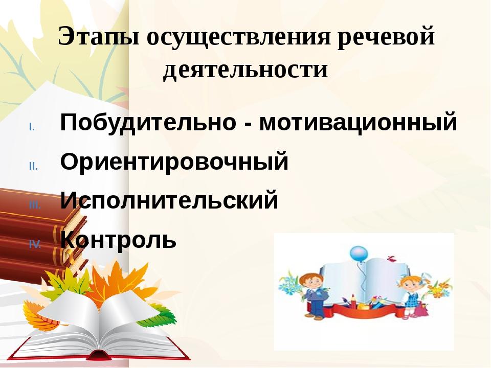 Этапы осуществления речевой деятельности Побудительно - мотивационный Ориенти...