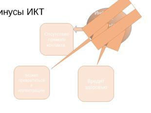 Минусы ИКТ Информа ционно-коммуника-ционные технологии Отсутствие прямого кон