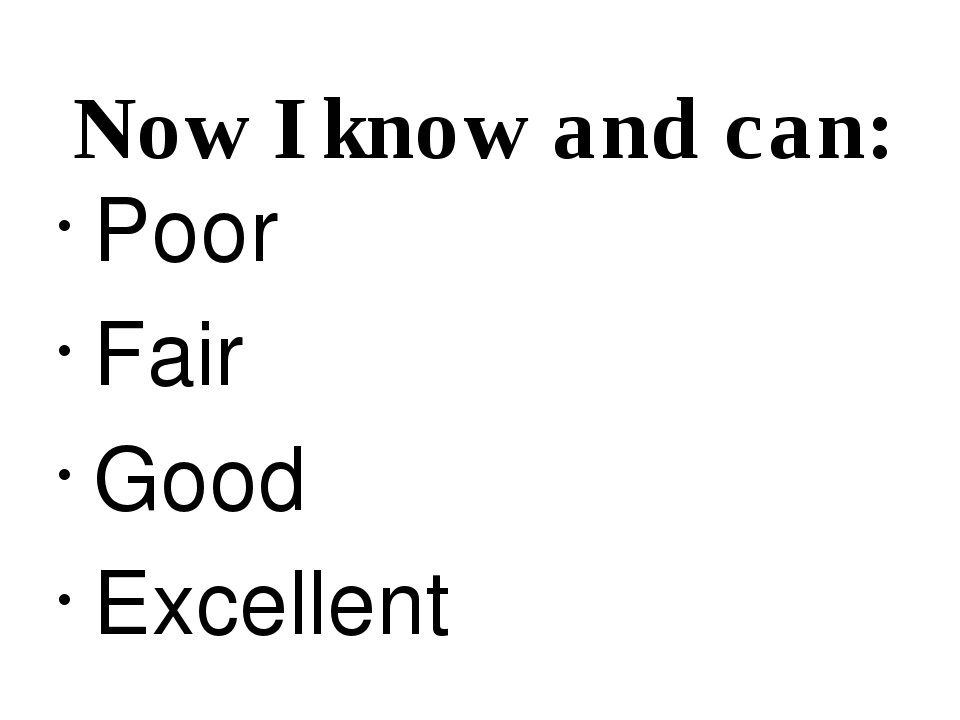 Now I know and can: Poor Fair Good Excellent