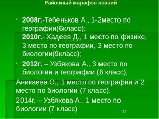 Районный марафон знаний 2008г.-Тебеньков А., 1-2место по географии(6класс); 2