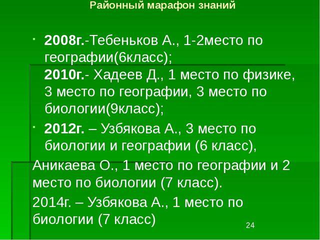 Районный марафон знаний 2008г.-Тебеньков А., 1-2место по географии(6класс); 2...