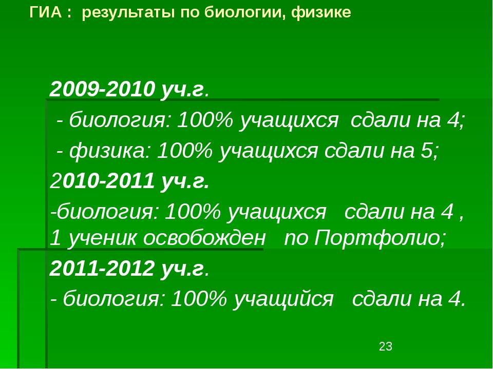 ГИА : результаты по биологии, физике 2009-2010 уч.г. - биология: 100% учащихс...