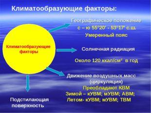 Климатообразующие факторы Солнечная радиация Около 120 ккал/см² в год Географ