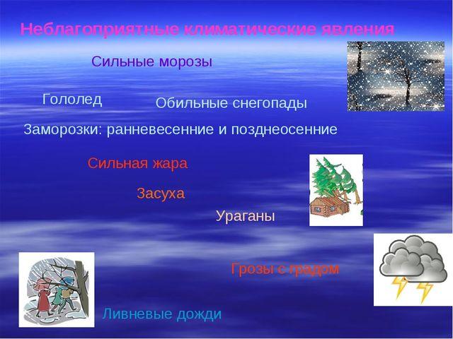 Неблагоприятные климатические явления Заморозки: ранневесенние и позднеосенни...