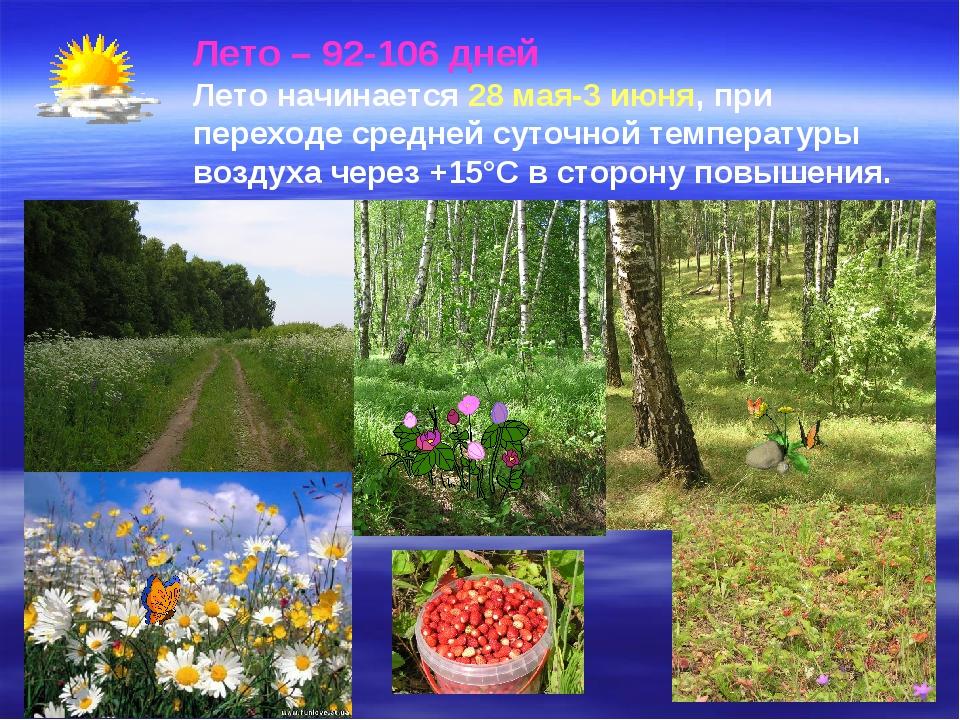 Лето – 92-106 дней Лето начинается 28 мая-3 июня, при переходе средней суточн...