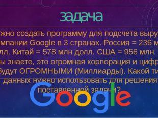 задача Нужно создать программу для подсчета выручки компании Google в 3 стран