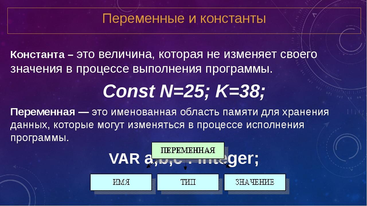 Переменные и константы Константа – это величина, которая не изменяет своего з...