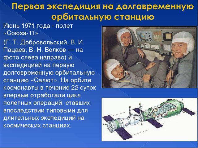 Июнь 1971 года- полет «Союза-11» (Г. Т. Добровольский, В. И. Пацаев, В. Н. В...