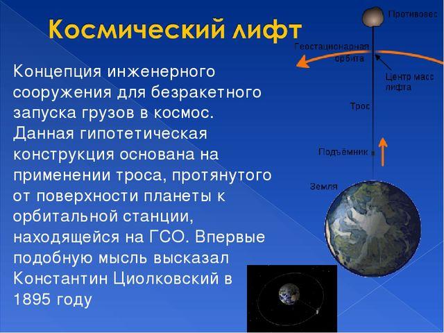 Концепция инженерного сооружения для безракетного запуска грузов в космос. Да...