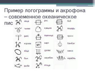 Пример логограммы и акрофона – современное океаническое письмо