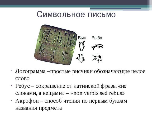 Символьное письмо Логограмма –простые рисунки обозначающие целое слово Ребус...