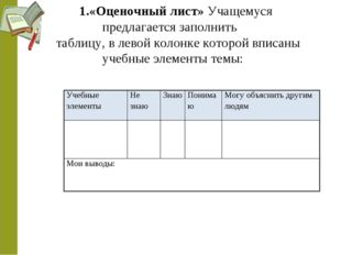 1.«Оценочный лист» Учащемуся предлагается заполнить таблицу, в левой колонке