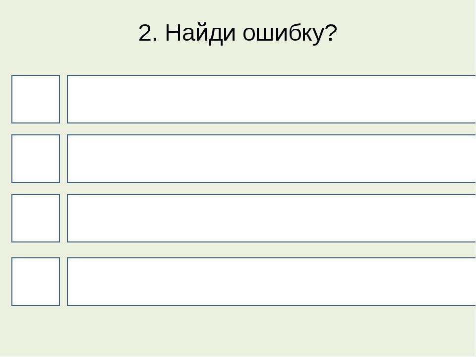 2. Найди ошибку? 4 1 3 2 Г - к З - с Н - м Ж - ш