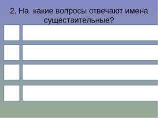 2. На какие вопросы отвечают имена существительные? 4 1 3 2 Что делать? Где?