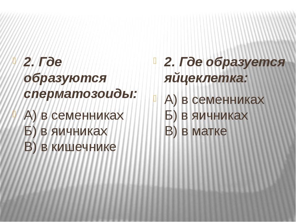 2. Где образуются сперматозоиды: А) в семенниках Б) в яичниках В) в кишечни...