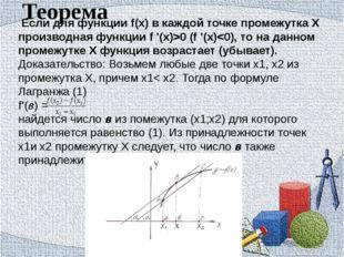 Теорема Если для функции f(x) в каждой точке промежутка Х производная функции
