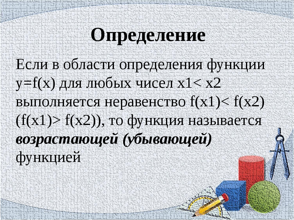 Определение Если в области определения функции y=f(x) для любых чисел х1< х2...