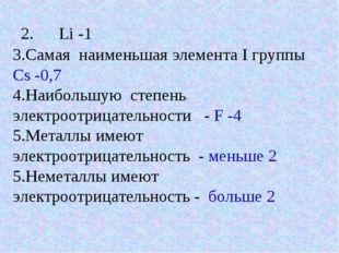 2. Li -1 3.Самая наименьшая элемента I группы Cs -0,7 4.Наибольшую степень эл