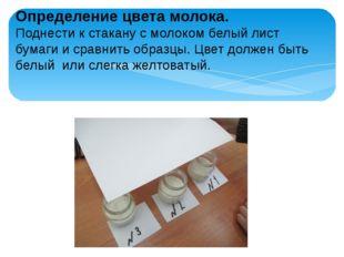 Определение цвета молока. Поднести к стакану с молоком белый лист бумаги и ср