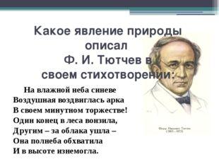 Какое явление природы описал Ф. И. Тютчевв своемстихотворении: На влажной