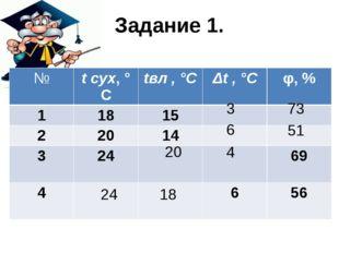 Задание 1. 3 73 6 51 4 20 24 18 № tсух,°С tвл, °С Δt,°С φ,% 1 18 15 2 20