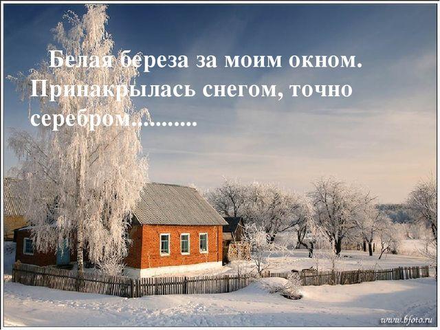 Белая береза за моим окном. Принакрылась снегом, точно серебром...........
