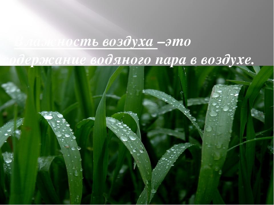 Влажность воздуха –это содержание водяного пара в воздухе.