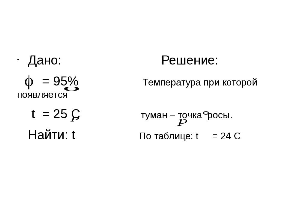 Дано: Решение: = 95% Температура при которой появляется t = 25 С туман – точ...