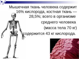 Мышечная ткань человека содержит 16% кислорода, костная ткань — 28,5%; всего
