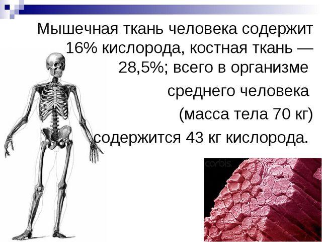 Мышечная ткань человека содержит 16% кислорода, костная ткань — 28,5%; всего...