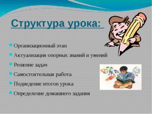 Структура урока: Организационный этап Актуализация опорных знаний и умений Ре