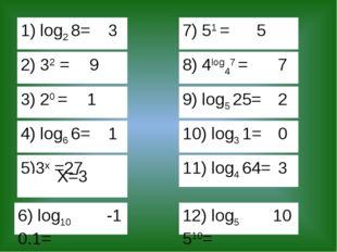 1) log2 8= 3 2) 32 = 9 3) 20 = 1 4) log6 6= 1 5)3x =27 7) 51 = 5 8) 4log47 =