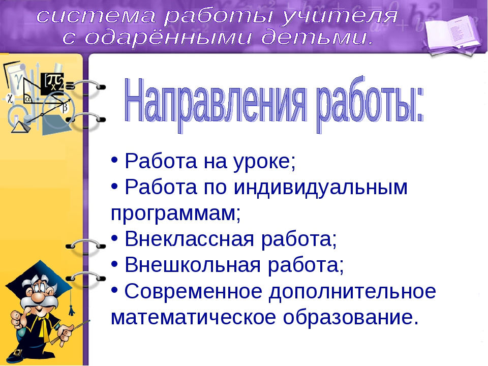 Работа на уроке; Работа по индивидуальным программам; Внеклассная работа; Вн...