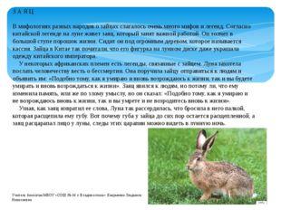 З А Я Ц В мифологиях разных народов о зайцах слагалось очень много мифов и ле