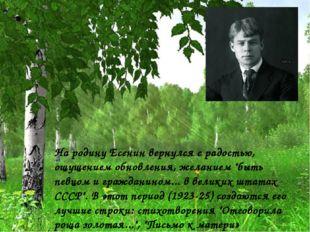 """На родину Есенин вернулся с радостью, ощущением обновления, желанием """"быть пе"""