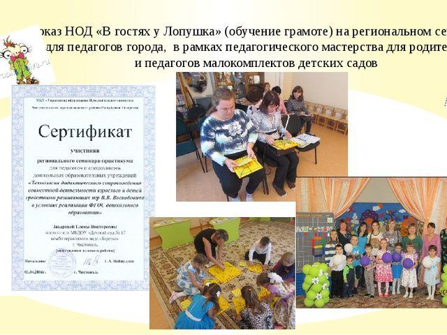 Показ НОД «В гостях у Лопушка» (обучение грамоте) на региональном семинаре д...