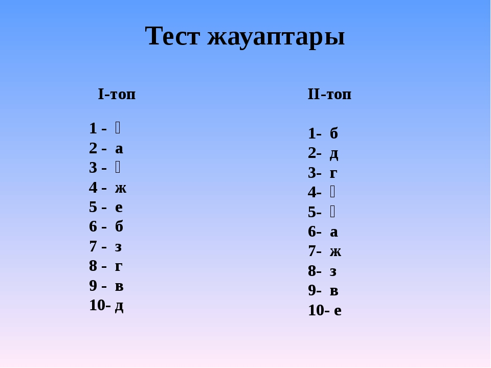 Тест жауаптары І-топ 1 - ә 2 - а 3 - ғ 4 - ж 5 - е 6 - б 7 - з 8 - г 9 - в 10...