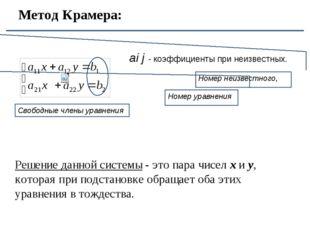 Метод Крамера: Номер уравнения Свободные члены уравнения ai j - коэффициенты