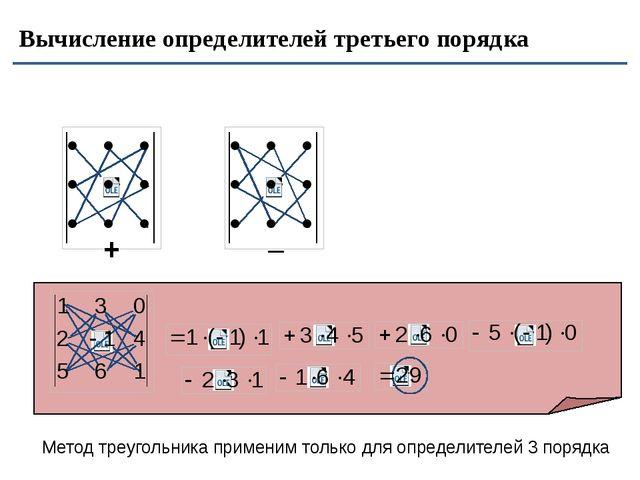 Вычисление определителей третьего порядка + _ Метод треугольника применим то...