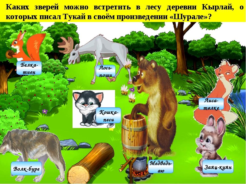 Каких зверей можно встретить в лесу деревни Кырлай, о которых писал Тукай в с...