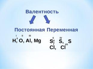 Валентность Постоянная Переменная Н, О, Al, Mg I II III II S, S, S Cl, Cl II