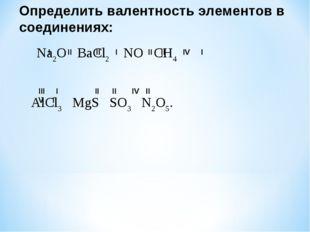 Определить валентность элементов в соединениях: Na2O BaCl2 NO CH4 AlCl3 MgS S