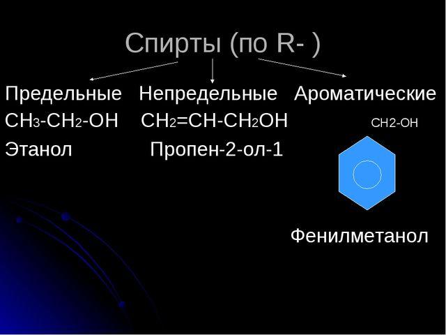 Спирты (по R- ) Предельные Непредельные Ароматические СН3-СН2-ОН СН2=СН-СН2ОН...